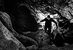 in the Canyon (Guido Klumpe) Tags: mann men sport nature climbing climb canyon leonegraph streetphotographer streetphotography candid unposed street germany deutschland city stadt monochrome bw blanco negro bn sw schwarz weis panasonicgx80 mft hannover