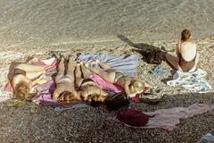 girls gang (Giorgos Voulgaris) Tags: nikonem film color kodak 200 candid street sea seaside beach girls summer swimsuit sunny sunbathe analog corfu