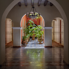 Building Courtyard (ep_jhu) Tags: pots x100f arch building plants courtyard beams puertorico pr fujifilm design tile interior gates fountain fronds astia fuji architecture oldsanjuan sanjuan viejosanjuan osj chandelier