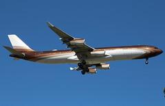 GlobalJet. M-IABU. Airbus A340-313. GVA. (Themarcogoon49) Tags: airbus a340 bizjet vip aircraft landing gva lsgg cointrin airport planespotting switzerland avgeek aviation usmanov