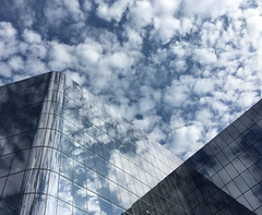 Conrad Blue (ep_jhu) Tags: glass building reflections apple dc clouds hilton 6s shiny nubes hotel iphone architecture conrad mtvernonsquare washington dcist metal districtofcolumbia unitedstates us