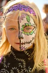 Beauty of the dead (radargeek) Tags: dayofthedead 2017 october plazadistrict okc oklahomacity kid child kids children facepaint glitter skull fave