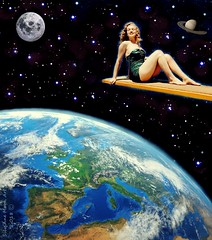 Photographing in another Dimension - By SilviAne Moon (Silviane Moon) Tags: futuristic marylinmonroe photographing photomanipulation space art digitalcollage dimension earth fiction moon planets saturn scifi surreal surrealism surrealistic universe surrealcollage silvianemoon silvianemoonart s6 society6