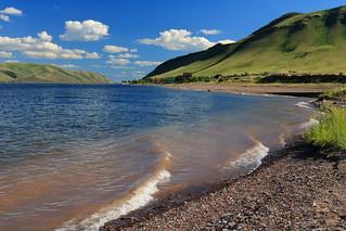 Yenisei river waves, Khakassia, Russia