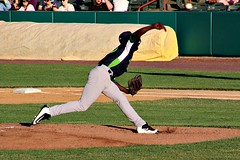 DELIVERING THE PITCH (MIKECNY) Tags: pitch pitcher throw delivery baseball vermontlakemonsters nypennleague as rafaelkelly