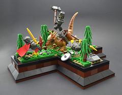 Breach (Low) (Klikstyle) Tags: lego medieval castle knight dinosaur stygimoloch vignette battle