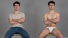 Man sitting in jeans and white underwear diptych (StudioLads.com) Tags: male model man guy dude youth stud hunk pose studio photoshoot chair shirtless topless dressed undressed clothed unclothed stripping bulge underwear undie undies tightywhities tanga briefs jeans tshirt fashion trendy casual white blue hot horny sexy cute body physique chest nipple sit sitting