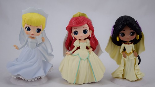New Ariel Jasmine Cinderella Belle Q posket Disney Princess Wedding Figure Japan