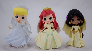 Q Posket Wedding Vinyl Figures by Banpresto - Cinderella, Ariel and Jasmine