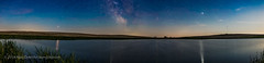 Planet Panorama at a Prairie Pond (Amazing Sky Photography) Tags: alberta antares jupiter m6 m7 mars milkyway moonlight on1 orton rising sagittarius saturn scorpius twilight airglow glitterpath panorama planets pond prairie reflection solstice