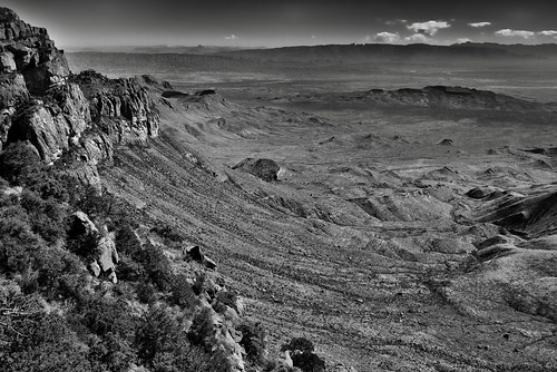 I Made It...and What a Freaking Amazing View It Was! (Black & White, Big Bend National Park