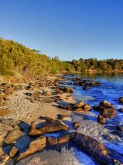 On the island X (elphweb) Tags: hdr highdynamicrange nsw australia seaside sea ocean water beach sand sandy brouleeisland island rock rocks rockformation