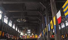 Saint-Catherine's Church (peterphotographic) Tags: olympus em5mk2 microfourthirds ©peterhall honfleur normandy normandie france p5240508edwm saintcatherineschurch church nave wood wooden flag window ceiling roof building romancatholic vault