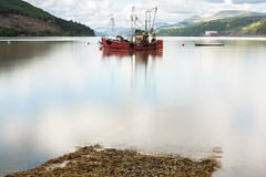 Red Trawler (Click And Pray) Tags: managedbyclickandpraysflickrmanagr nopeople scotland argyll horizontal landscape longexposure lochlong ardentinny trawler boat red fishingboat ba61 nopeoplescotlandargyllhorizontallandscapelongexposurelochlongardentinnytrawlerboatredfishingboatba61gbr