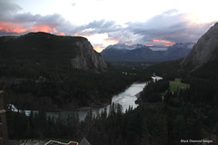 Sunset over the Bow River & Mountains viewed from the Fairmont Banff Springs Hotel, Banff, Alberta, Canada (Black Diamond Images) Tags: fairmontbanffspringshotel fairmontbanffsprings hotel canadianhotels banff alberta canada 2012 scenictours sprayavenue castleintherockies bowriver banffnationalpark unescoworldheritagesite historichotel sunset mountain snow mountains sky landscape landscapes mountainside