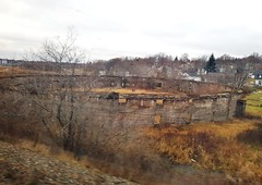 Ruins of Sunny Brae Rink Arena (Fred:) Tags: sunnybraerink sunny brae rink arena moncton newbrunswick ruins circular concrete nouveaubrunswick abandoned abandonné ruines aréna sunnybrae nouveau new brunswick heritage building construction historical structure architecture train blurry