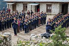 Morning ceremony for schoolchildren in Laya - Gasa District - Snowman Trek - Bhutan (PascalBo) Tags: nikon d500 asie asia southasia asiedusud drukyul drukgyalkhap bhutan bhoutan འབྲུག་ཡུལ། འབྲུག་རྒྱལ་ཁབ་ snowman trek trekking hike hiking lunana gasa himalaya himalayas jigmedorjinationalpark laya layap people kid child enfant boy garçon girl fille school outdoor outdoors pascalboegli