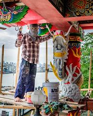 Klong San Chinese Shrine (Goran Bangkok) Tags: chinese klongsan maintenance shrine workers renovation temple bangkok thailand red religion buddhism