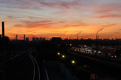 Friday sunset. (GlebLv) Tags: sunset railway highway sky colorful dusk landscape sony a6000 sel50f18