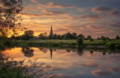 Sunset Flourish (Captain Nikon) Tags: sawley derbyshire leicestershire england river rivertrent reflections sunset sundown allsaintschurch church greatbritain landscapes landscapephotography nikon naturalframe srb06graduatedneutraldensityfilter