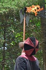 Judas and Magnolida - Escape Artist (Adventurer Dustin Holmes) Tags: 2018 whitehart renaissancefair renaissancefaire renaissancefestival event events hartvillemo hartvillemissouri wrightcounty ozarks escapeartist judas judasandmagnolia judasmagnolia performance show performances entertainer entertainers men man male people person axe weapon flamingaxe battleaxe flamingbattleaxe fire onfire balancing balanced careful stunt flame