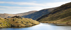 Behind Small Water (Benjamin Driver) Tags: small smallwater water lake lakedistrict district tarn hills hill mountains mountain panoramic landscape landscapes land scape waterscape blue green digitalremoval sky quiet sun colour high cloud clouds haweswater haweswaterreservoir