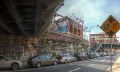 Panorama 3597_hdr_pregamma_1_mantiuk06_contrast_mapping_0.1_saturation_factor_0.8_detail_factor_1 (bruhinb) Tags: panorama hdr philadelphia pa usa eraserhood 12thstreet callowhillstreet architecture therailpark readingviaduct rail sky car train road tree bridge building