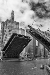 Bridge Up (mfhiatt) Tags: dscf14110618djpg bridge chicago michiganavenue river blackandwhite architecture