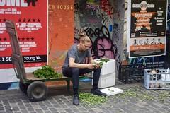 She loves me, she loves me not, Soho, London (Yekkes) Tags: london soho city urban berwickstreet market alone solitary sad pensive working herbs red green mess manbun adrogynous feminine blonde graffiti flyposting