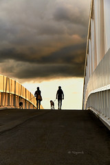 Bridge To The Brightside (YogiMik) Tags: oslo norway bridge dramatic sky clouds people dogs animals walking asphalt beautiful message awesome greatphotographers
