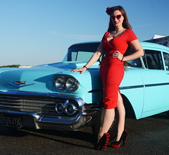 Holly_9221 (Fast an' Bulbous) Tags: classic american car chevy oldtimer vehicle automobile people outdoor pinup model girl woman wife hot sexy chick babe red wiggle dress high heels stockings