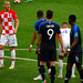 Domagoj Vida of Croatia looks at the massing French in the penalty area before the free kick comes in that will lead to the first goal of the 2018 World Cup Final