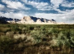 Chisos Mountains. Impression. (Richard Denney) Tags: art painterly impressionistic chisos bigbend texas nationalpark infrared hoyar72 desert mountain sky clouds