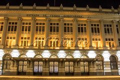 Alf Ribeiro 0227 0085 (Alf Ribeiro) Tags: brazil brazilian building city downtown dusk exterior night saopaulo street urban ancient architectural architecture art business classical clock column culture decoration entertainment facade famous historic historical history illuminated julio metropolis monument music old ornate outdoor palace prestes rail railroad railway sala station style tourism tower town train transport transportation travel