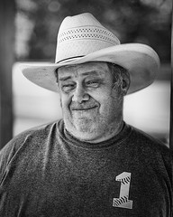 Matt is number 1 (mckenziemedia) Tags: baseball softball cowboyhat hat smile face portrait portraiture shirt volunteer woodstock illinois blackandwhite monochrome
