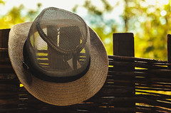 Summer Hat on Wooden Fence (dejankrsmanovic) Tags: hat wooden wood fence classical object stilllife outdoors lifestyle cowboy country village countryside outside hanged concept conceptual closeup model day nature summer cover cloth vintage retro oldfashioned rural