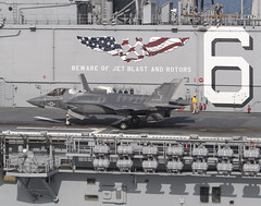 Seven F-35Bs are on board the USS America (LHA-6) beginning Oct. 28 until mid-November. Two of the jets are scheduled to begin the third shipboard phase of developmental test (DT-III) and five are scheduled to conduct operational testing. (aeroman3) Tags: 161115nvt0450001pacificoceannov15 2016anf35blightningiishorttakeoffverticallandingstov maintainers engineers logisticians supportstaffandtestpilotsareembarkedforthethirdandfin 2016anf35blightningiishorttakeoffverticallandingstovlaircraftconductstestoperationsontheflightdeckofamphibiousassaultshipussamericalha6thehighlydiversecadreofpaxriverintegratedtestforceitftechnicians supportstaffandtestpilotsareembarkedforthethirdandfinaldevelopmentaltestphasedtiiioff35bcarriersuitabilityandintegrationusnavyphotobyandywolfereleased
