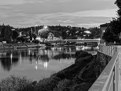 P6052431 (mukherjee_ab) Tags: night nightlights blackandwhite bnw water river arno reflection