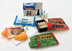 Supermarket # 2 (MurderWithMirrors) Tags: rement miniature food container package mwm shoppingbag edamame potstickers taiyaki fish