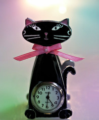 2018 Smile on Saturday: Lucky Charm (dominotic) Tags: 2018 smileonsaturday luckycharm bc blackcat clock circle paperclip macro pinkbow sydney australia
