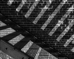 Stair Shadows on Wall 9425 A (jim.choate59) Tags: jchoate on1pics shadows stairs elginoregon abstract