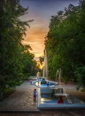 "1-sunset-fountain-D75_9494-LR6-md2And4more_tonemapped (John ""Igor S."" Moffitt) Tags: nikkor ais 28mm f2 sunset"