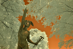 Mercury Statue (red plus infrared) (dr_marvel) Tags: infrared ir ny rochester newyork orange mercury statue art sculpture pittsford red wings