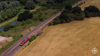 Freight train passing the Loop at Hungerford. Taken with a DJI Phantom 3 Standard.