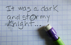 It was a dark and stormy... (Monceau) Tags: eraser macromondays printing pencil itwasadarkandstormynight paper grid erasure macro