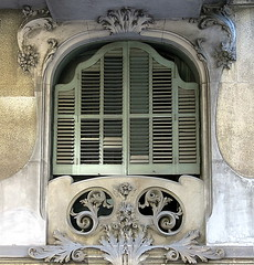 A green-shuttered window, Barcelona (Spencer Means) Tags: dwwg architecture building house window frame shutters green closed stone stonework decoration ornamental modernista modernisme dreta eixample barcelona catalunya catalonia spain