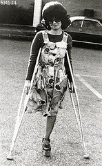 h5341-b100ft14 - The Platform shoe girl (jackcast2015) Tags: handicapped disabled disabledwoman cripledwoman onelegwoman oneleggedwoman monopede amputee legamputee crutches crippledwoman 1970s 1970sfashion