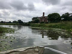 Humboldt Park fieldhouse as seen from a swan boat (Steven Vance) Tags: humboldtpark chicago lagoon swanboat