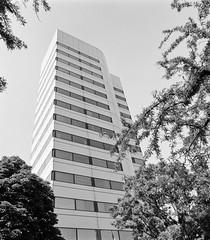 Architecture 2 - I. M. Pei tower (Dalliance with Light (Andy Farmer)) Tags: modern hasselblad500c building monochrome tower rodinal jj impei bw newbrunswick film ultrafinextreme100 newjersey unitedstates us