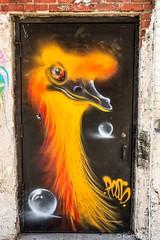 Santa Ana - Alley Door_0014 (www.karltonhuberphotography.com) Tags: 2018 alley artwork bird citystreets door downtown karltonhuber mural santaana southerncalifornia streetphotography streetscene urban